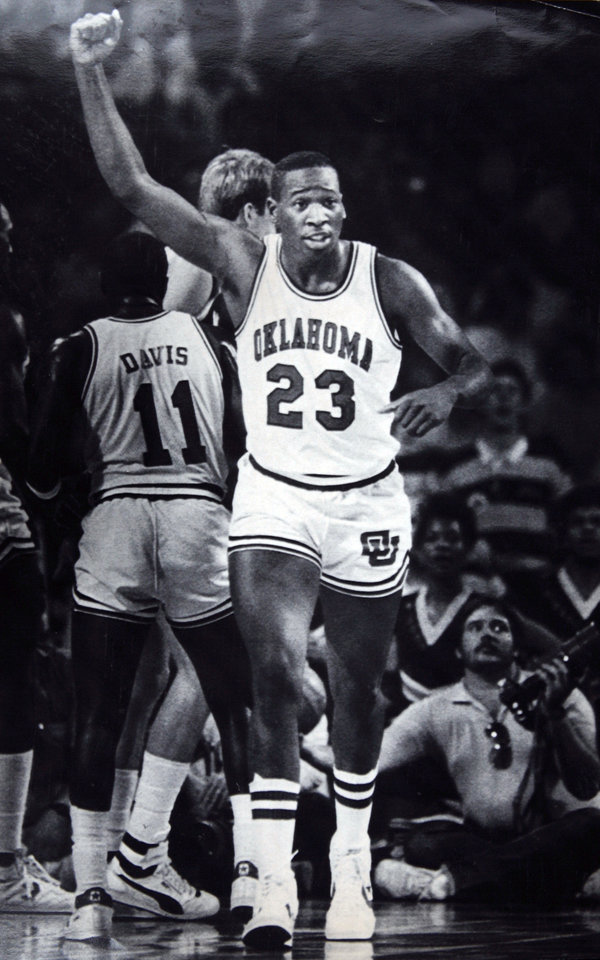 Photo - Former OU basketball player Wayman Tisdale. KANSAS CITY, MO. Mar. 8--Oklahoma's Wayman Tisdale scored 22 points in the semi-final game against Missouri. OU beat MU 104-84. Photo by Doug Hoke. Photo taken 3/8/1985, Photo published 3/10/1985 in The Daily Oklahoman. ORG XMIT: KOD