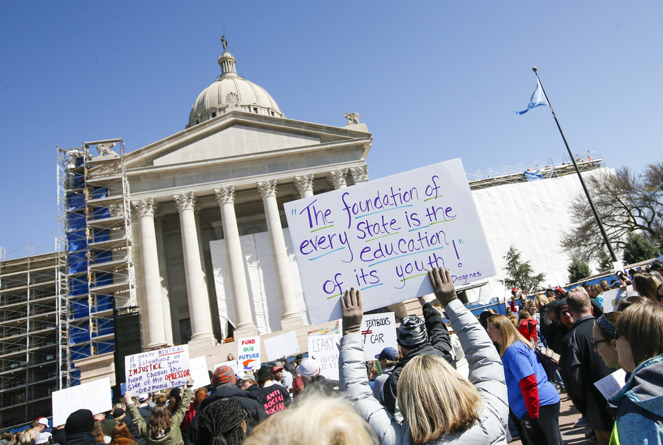 Photo - Teachers, students and supporters of increased education funding rally on the south side of the state Capitol during the third day of a walkout by Oklahoma teachers, in Oklahoma City, Wednesday, April 4, 2018. Photo by Nate Billings, The Oklahoman