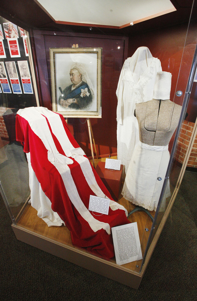 A case containing items belonging to Queen Victoria is on display at the Chisholm Trail Museum in Kingfisher.