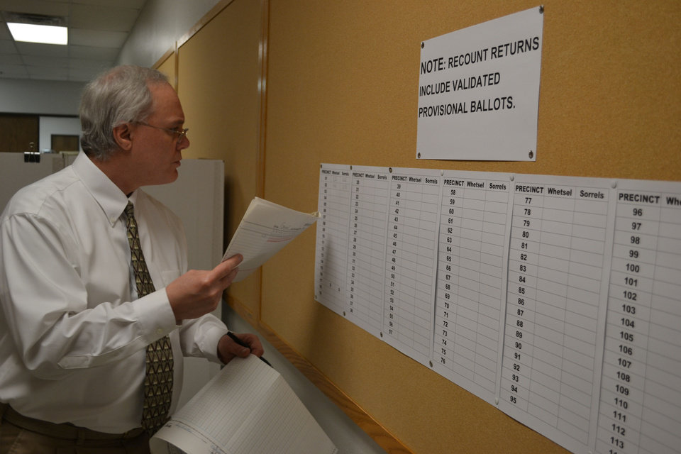 Oklahoma County Election Board Secretary Doug Sanderson compares precint totals Wednesday during a recount of the Nov. 6 county sheriff election. <strong>The Oklahoman - Zeke Campfield</strong>