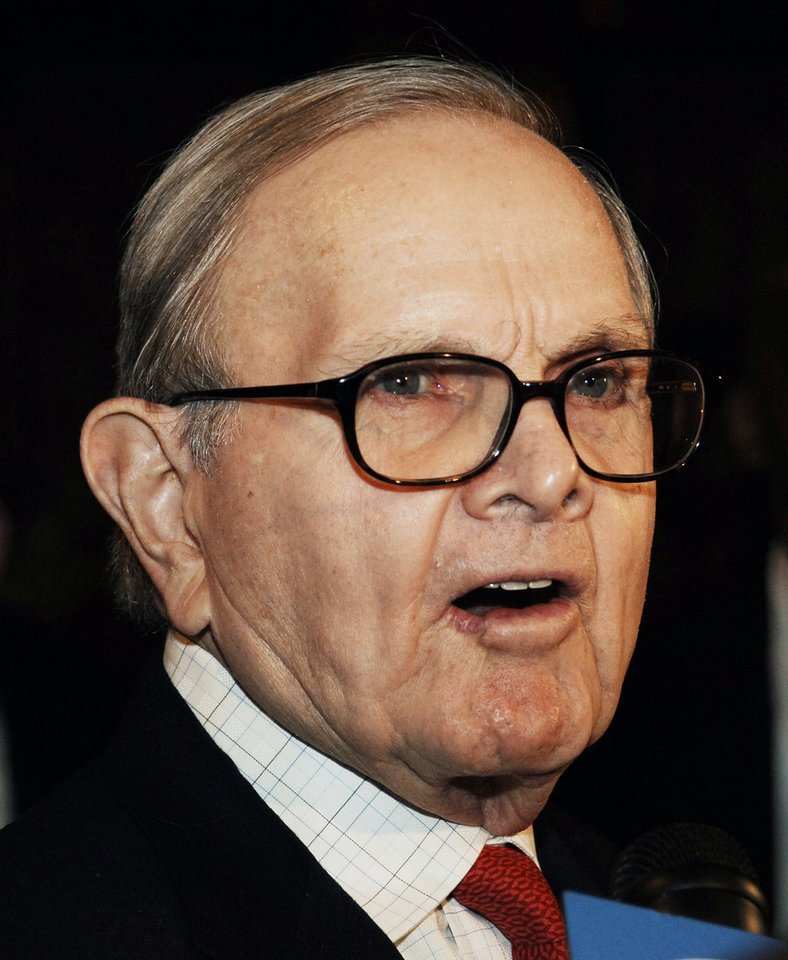 Photo - FILE - This March 2, 2006, file photo shows Buffalo Bills owner Ralph Wilson arriving for a meeting with NFL owners and commissioner Paul Tagliabue at the Grand Hyatt Hotel in New York. Bills owner Wilson Jr. has died at the age of 95. NFL.com says team president Russ Brandon announced his death at the league's annual meeting in Orlando, Fla., Tuesday, March 25, 2014. He was one of the original founders of the American Football League and owned the Bills for the last 54 years. (AP Photo/ Louis Lanzano, File)