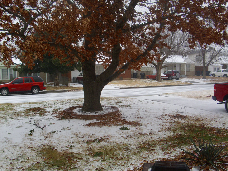 Sleet covers the ground in a northwest Oklahoma City neighborhood. Photo submitted by Carrie Jacobs, Oklahoma City