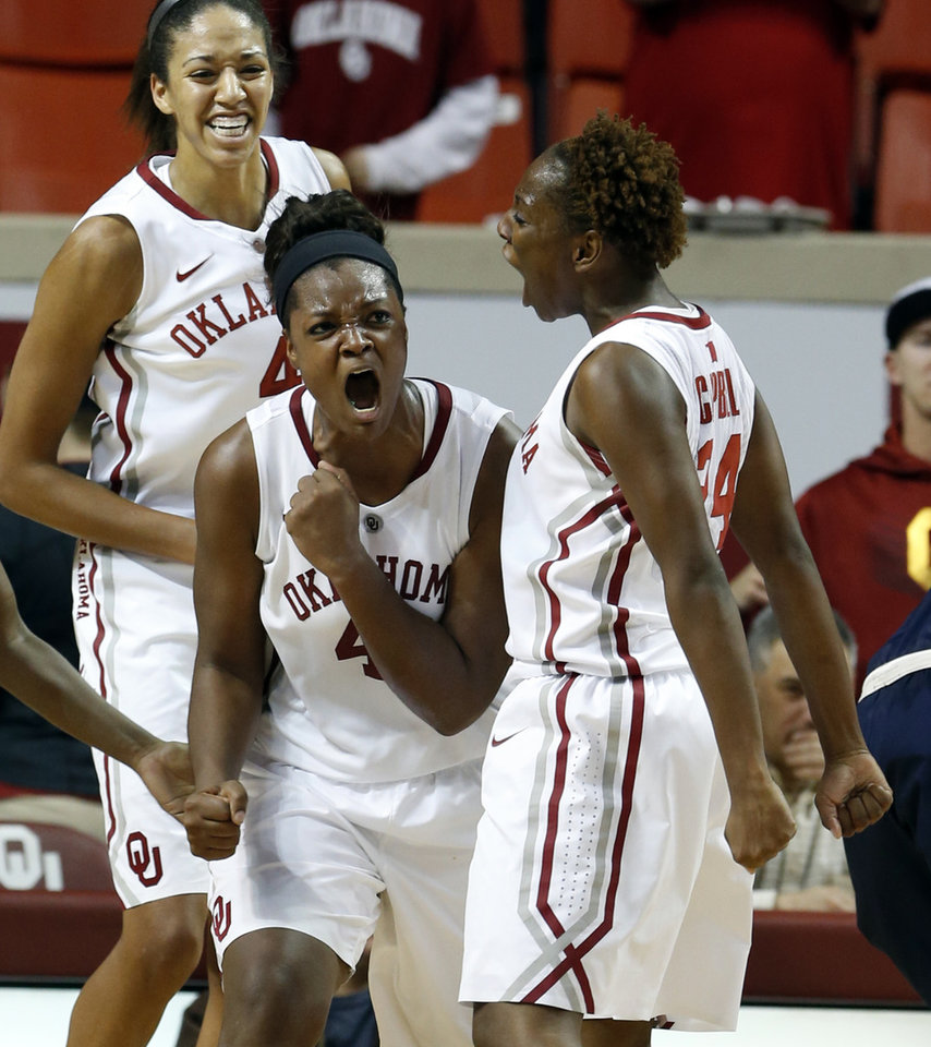 Photo - Oklahoma Sooner's Kaylon Williams (42) celebrates stopping a drive by Gonzaga's Lindsay Sherbert in the final minute by taking a charge as Sharane Campbell, right, and Nicole Griffin join in as the University of Oklahoma Sooners (OU) defeat the Gonzaga Bulldogs 82-78 in NCAA, women's college basketball at The Lloyd Noble Center on Thursday, Nov. 14, 2013  in Norman, Okla. Photo by Steve Sisney, The Oklahoman