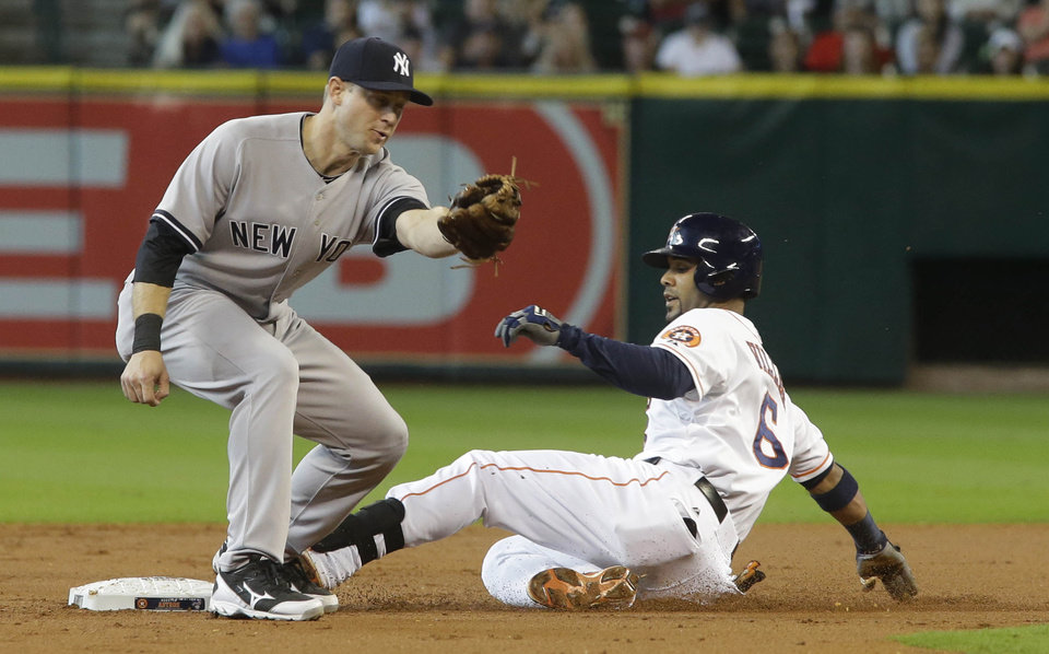 Photo - Houston Astros' Jonathan Villar is safe on a double ahead of the throw to New York Yankees second baseman David Adams during the first inning of their baseball game Sunday, Sept. 29, 2013, in Houston. (AP Photo/Richard Carson)