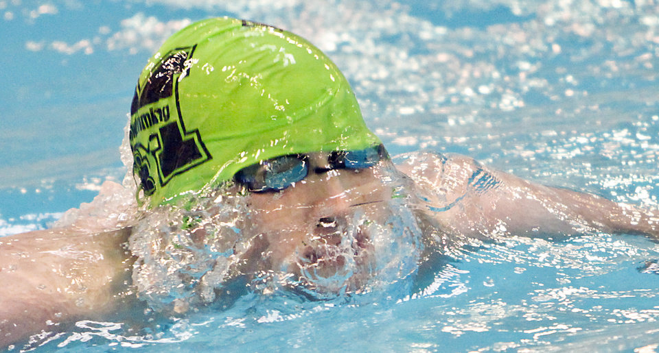 McGuinness' Nate Yokell competes in the 200 yard IM during the OSSAA class 5A state championship swim meet at the Oklahoma City Community College on Friday, Feb. 17, 2012, in Oklahoma City, Okla. Photo by Chris Landsberger, The Oklahoman
