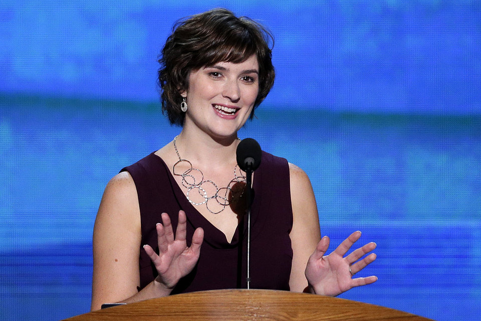 Photo - Sandra Fluke, attorney and women's rights activist addresses the Democratic National Convention in Charlotte, N.C., on Wednesday, Sept. 5, 2012. (AP Photo/J. Scott Applewhite)  ORG XMIT: DNC169
