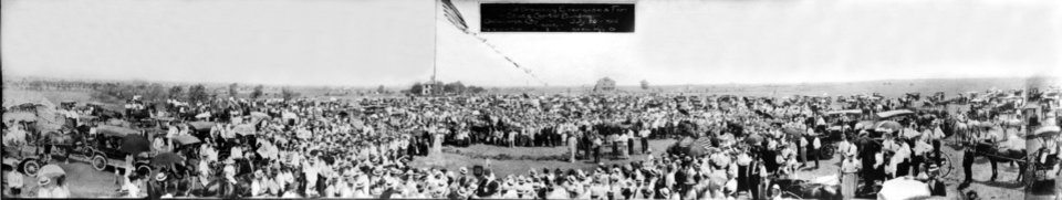 Photo -  This panoramic view, looking northward from NE 22 and Lincoln, was made of the July 20, 1914, groundbreaking for the Oklahoma state Capitol building. [Photo Provided]
