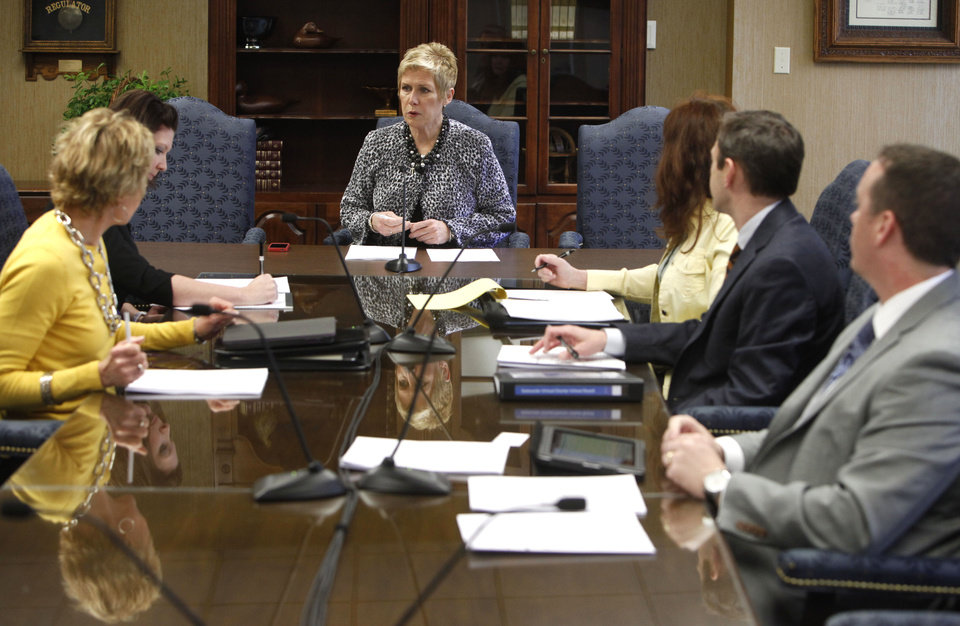 State schools Superintendent Janet Barresi speaks to new board members during the first school board meeting for the Oklahoma Virtual Charter School, at the State Education Department in Oklahoma City, OK, Monday, March 18, 2013,  By Paul Hellstern, The Oklahoman