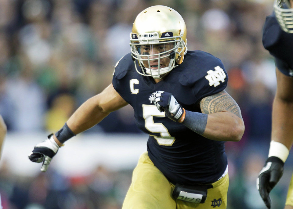 Notre Dame linebacker Manti Te'o. AP photo.