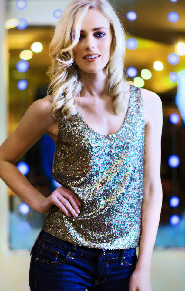Photo - Model Emily wears an Elie Tahari sequin tank, from CK & Co. Makeup by Lilly Stone, Sooo Lilly Cosmetics. Photo by Chris Landsberger, The Oklahoman  CHRIS LANDSBERGER
