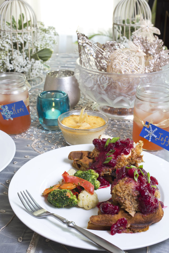 For holiday entertaining try showering your guests with comforts in a Casual Southern theme serving pumpkin waffles and chicken with an orange cranberry compote and vegetable medley. (Ross Hailey/Fort Worth Star-Telegram/MCT)