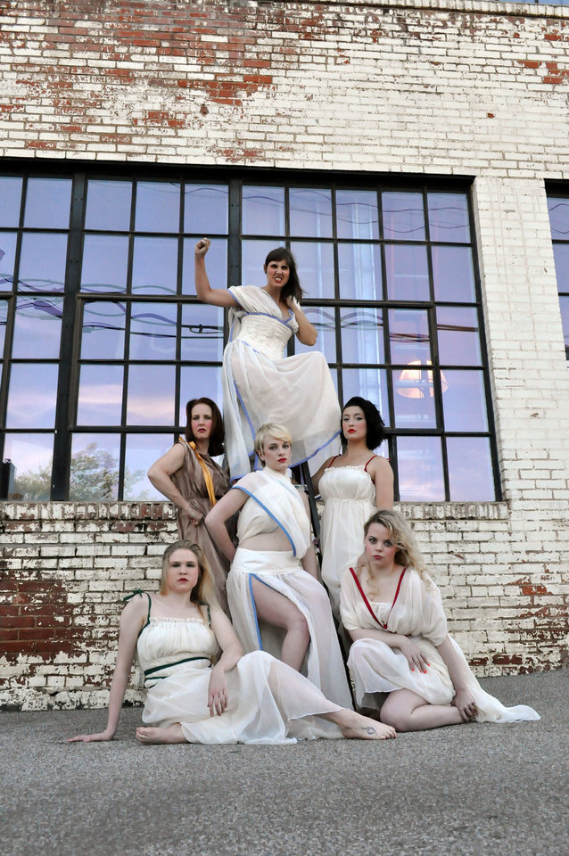 "Photo - The cast of Reduxion Theatre Company's ""Lysistrata"" includes, from left, Jessa Schinske as Kalonike; Denise Hughes, Lampito; Mariah Webb, Myrrhina; Erin Woods, Lysistrata; and Lydia McBee Reed and Tori Goss, chorus. Photo provided"