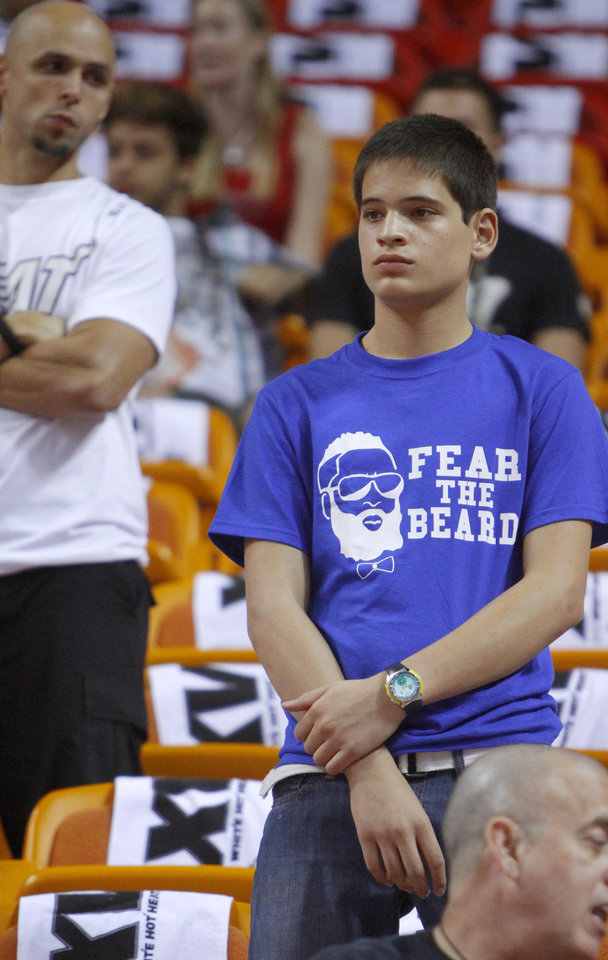 Photo - Emilio Quinonez of Honduras waits for the start of Game 5 of the NBA Finals between the Oklahoma City Thunder and the Miami Heat at American Airlines Arena, Thursday, June 21, 2012. Photo by Bryan Terry, The Oklahoman