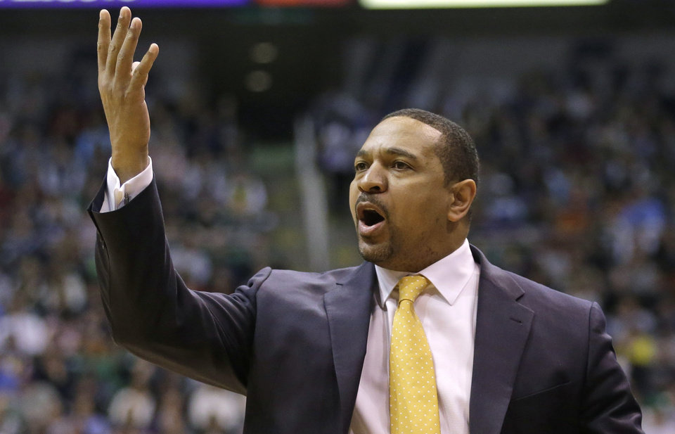 Golden State Warriors' head coach Mark Jackson argues with a referee in the second half during an NBA basketball game against the Utah Jazz Tuesday, Feb. 19, 2013, in Salt Lake City. The Jazz defeated the Warriors 115-101. (AP Photo/Rick Bowmer)
