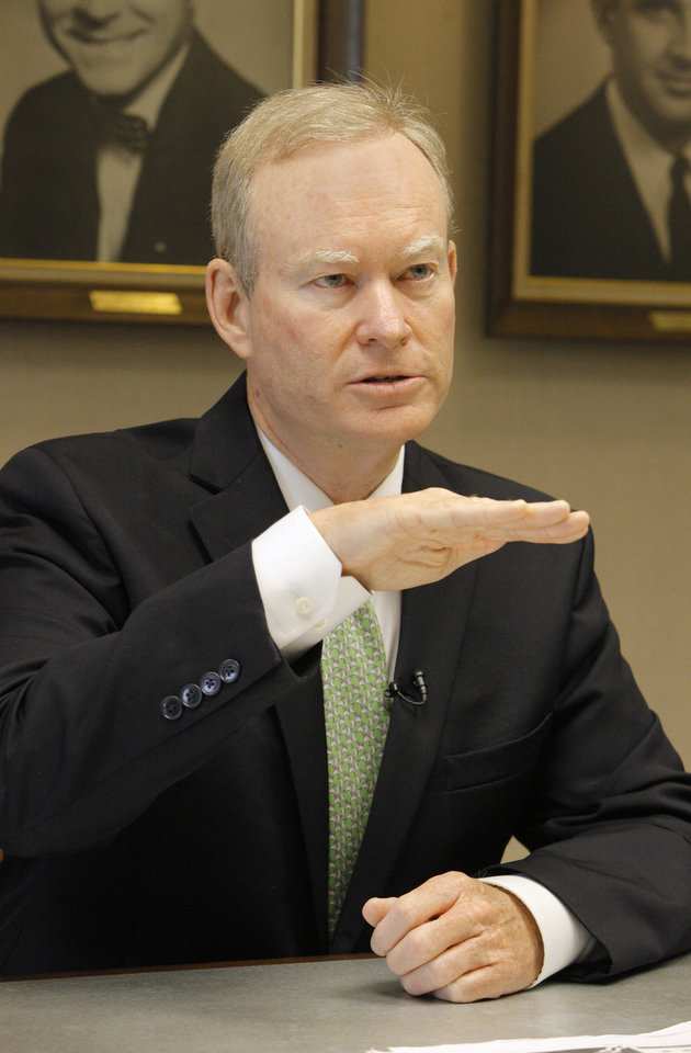 Photo -  Mayor Mick Cornett talks about sales tax revenues during an interview with The Oklahoman on Thursday at City Hall in Oklahoma City. Photo by Paul B. Southerland, The Oklahoman   PAUL B. SOUTHERLAND