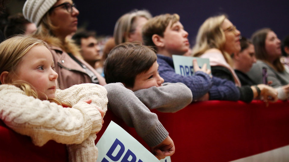 Photo - Young fans listen during an Elizabeth Warren campaign stop in Oklahoma City at Northwest Classen High School, her alma mater, Sunday, December 22, 2019. [Photo by Doug Hoke/The Oklahoman]