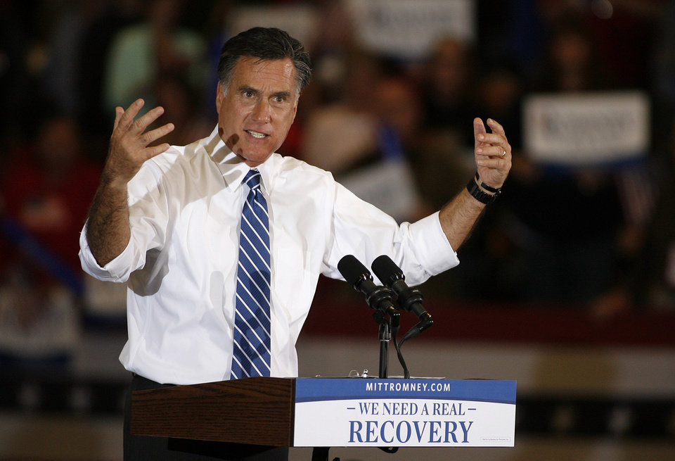 Republican presidential candidate former Massachusetts Gov,Mitt Romney speaks at a campaign rally at the Marion County Fairgrounds in Marion, Ohio, Sunday, Oct. 28, 2012. (AP Photo/Mike Munden)