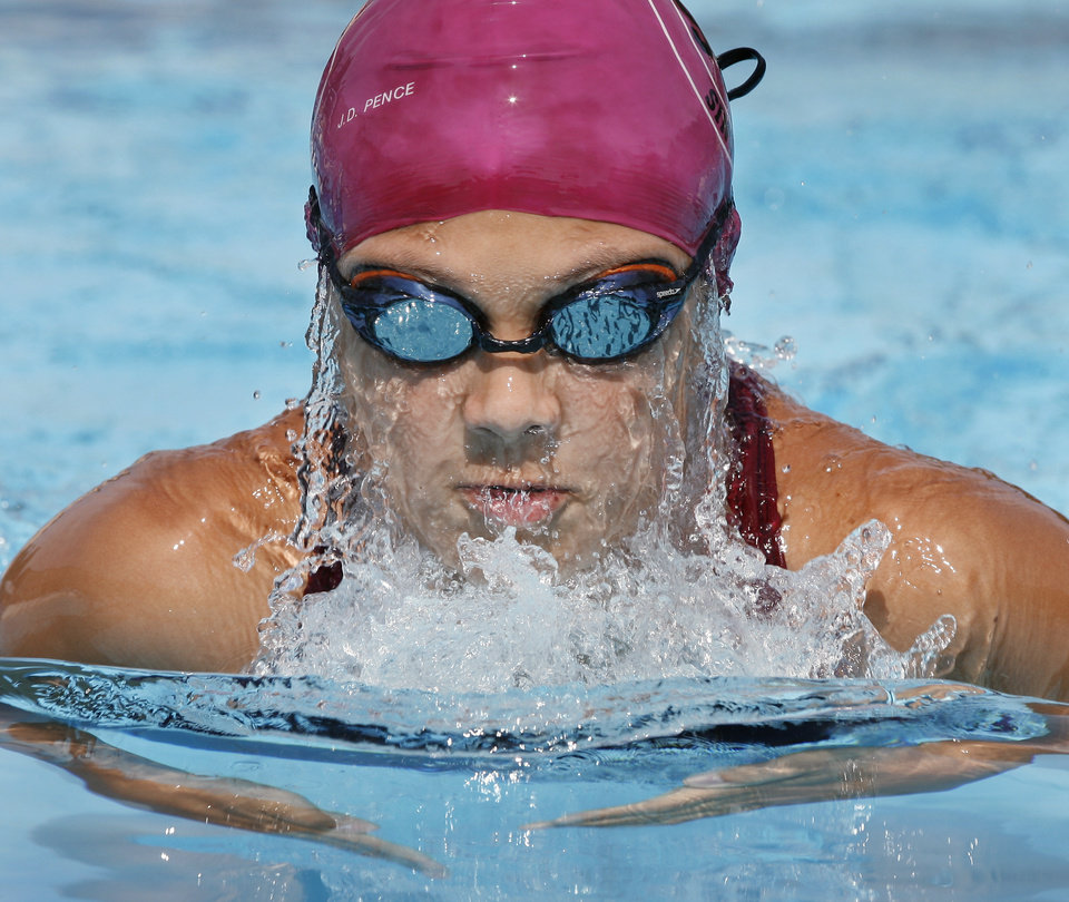 Caitlin Baker, 12,  prepares for the 2006 North American Indigenous Games (in Denver in July) at the University of Oklahoma (OU) swimming pool in Norman, Oklahoma on Thursday, June 22, 2006.  Photo by Steve Sisney/The Oklahoman