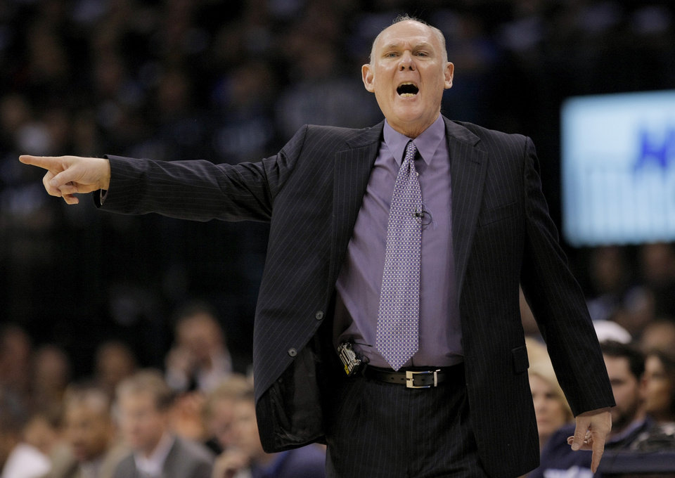 Photo - Denver coach George Karl shouts during the NBA basketball game between the Denver Nuggets and the Oklahoma City Thunder in the first round of the NBA playoffs at the Oklahoma City Arena, Wednesday, April 27, 2011. Photo by Bryan Terry, The Oklahoman