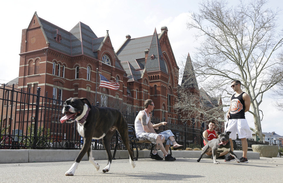 Photo - This April 10, 2013 photo shows dog owners chatting while their pets roam around the dog park located across from Music Hall at Washington Park in Cincinnati's Over-the-Rhine neighborhood. This picturesque neighborhood was named and settled by German immigrants in the 19th century, (AP Photo/Al Behrman)