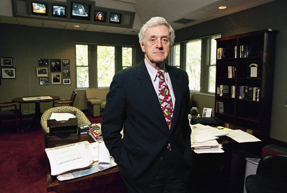 Photo - FILE - This April 20, 1994 file photo shows longtime newspaper executive John Seigenthaler in his office at the Freedom Forum First Amendment center which he founded in Nashville, Tenn. Seigenthaler, the journalist who edited The Tennessean newspaper, helped shape USA Today and worked for civil rights during the Kennedy administration, died Friday, July 11, 2014. He was 86. (AP Photo/Mark Humphrey, File)