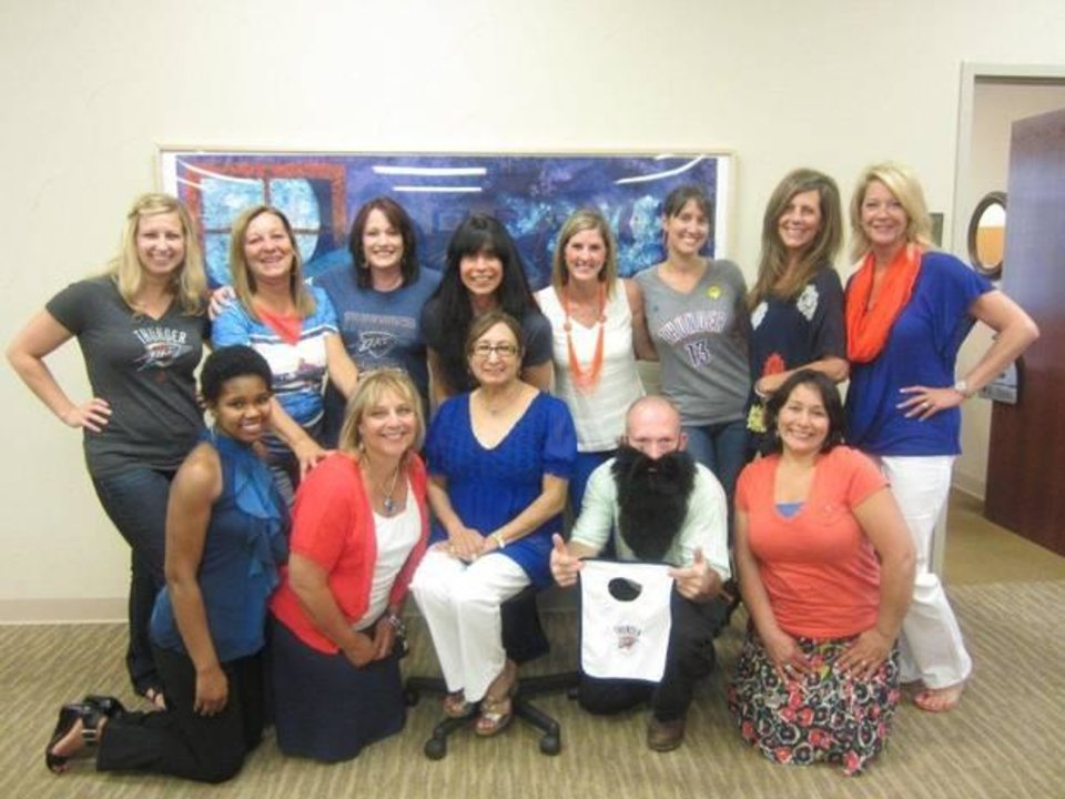 Thunder Up! The staff of Infant Crisis Services in Oklahoma City, Okla.