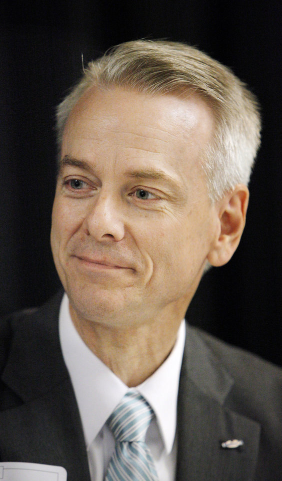 Photo - 5th District Congressional Candidate Steve Russell participating in a 5th District Congressional Candidates Forum on the Oklahoma Christian University campus in Oklahoma City Thursday, June 12, 2014. 5th Congressional candidates in attendance were Democrat Tom Guild, and Republicans Clark Jolley, Harvey Sparks, Steve Russell, Shane Jett and Patrice Douglas. Photo by Paul B. Southerland, The Oklahoman