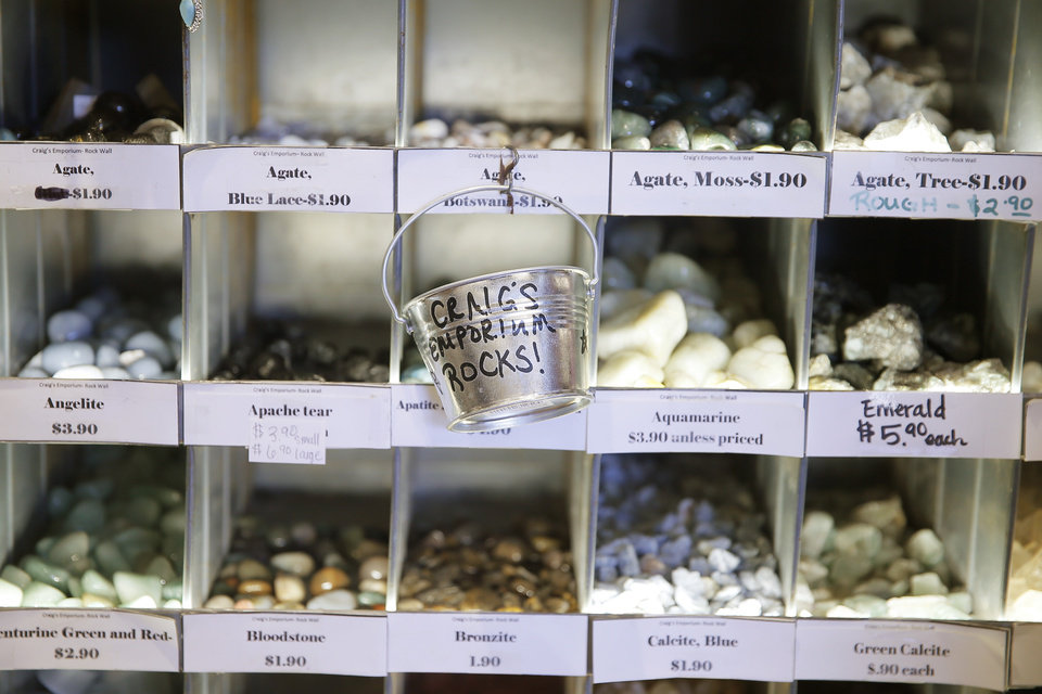 Photo -  Rocks for sale inside Craig's Curious Emporium in Oklahoma City, Wednesday, March 20, 2019. Photo by Bryan Terry, The Oklahoman
