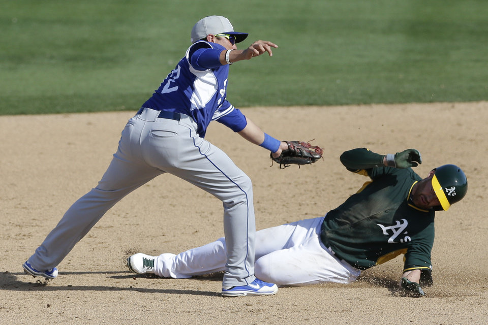 Photo - The Oakland Athletics' Jake Elmore, right, tries to avoid the tag as he is caught stealing second base as Los Angeles Dodgers shortstop Miguel Rojas, left, reaches for him during the sixth inning of a spring training baseball game Monday, March 3, 2014, in Phoenix. (AP Photo/Gregory Bull)