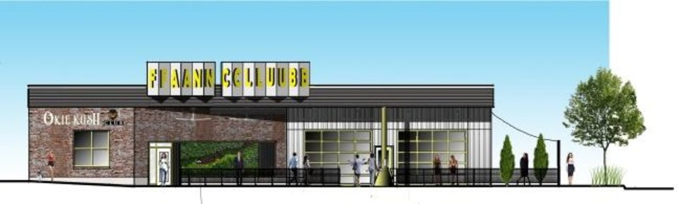 Photo -  A Depression-era filing station and garage at 401 NW 10 is set to be redeveloped into Kush Club marijuana dispensary and Fan Club, a bar including a sports lounge, karaoke and arcade. [Rendering by RBA Architects]