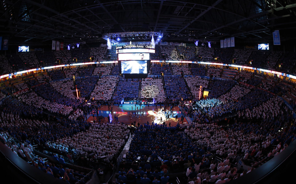 Photo - Players are introduced during Game 2 in the first round of the NBA playoffs between the Oklahoma City Thunder and the Memphis Grizzlies at Chesapeake Energy Arena in Oklahoma City, Monday, April 21, 2014. Photo by Sarah Phipps, The Oklahoman