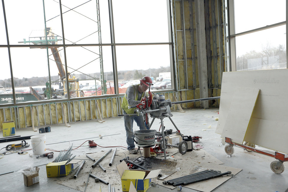 A construction worker works at the Mercy Health Edmond in Edmond, Okla.,  Thursday, Jan. 24, 2013. Photo by Sarah Phipps, The Oklahoman