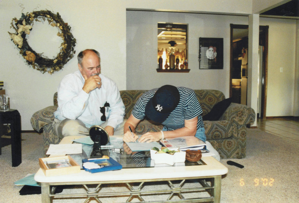 Photo - Brandon Weeden signs his Yankees contract in 2002. PHOTO PROVIDED