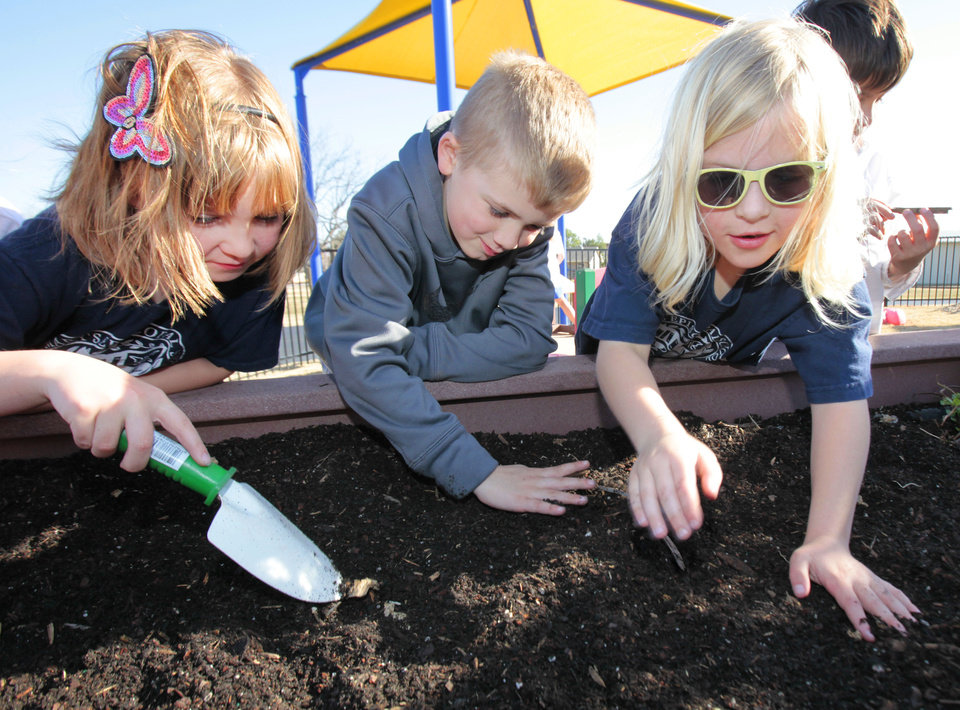 First-graders Meghan Reeves, Braeden Asbury and Reagan Creamer work in their garden at St. Mary's Episcopal Elementary School in Edmond. PHOTO BY DAVID MCDANIEL, THE OKLAHOMAN
