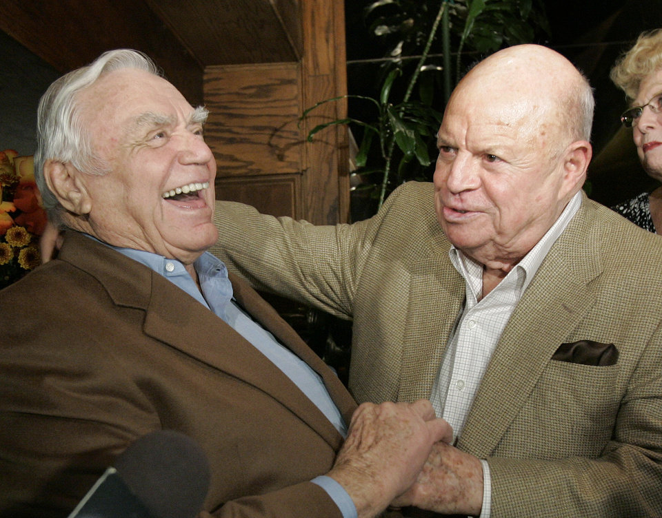 Photo - Ernest Borgnine, left, laughs as he talks with comedian Don Rickles during Borgnine's 90th birthday party at a restaurant in Los Angeles, Wednesday, Jan. 24, 2007. (AP Photo/Kevork Djansezian) ORG XMIT: KSD105