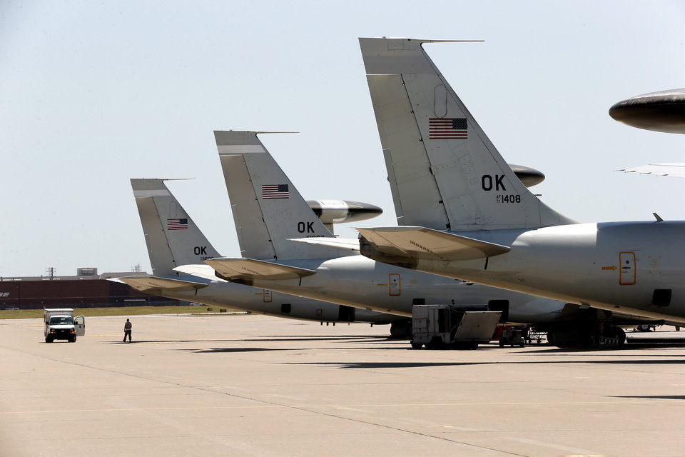 Photo -  Planes are shown at Tinker Air Force Base. Military aviation is a large contributor to Oklahoma's economy. [Photo by Steve Sisney, The Oklahoman]