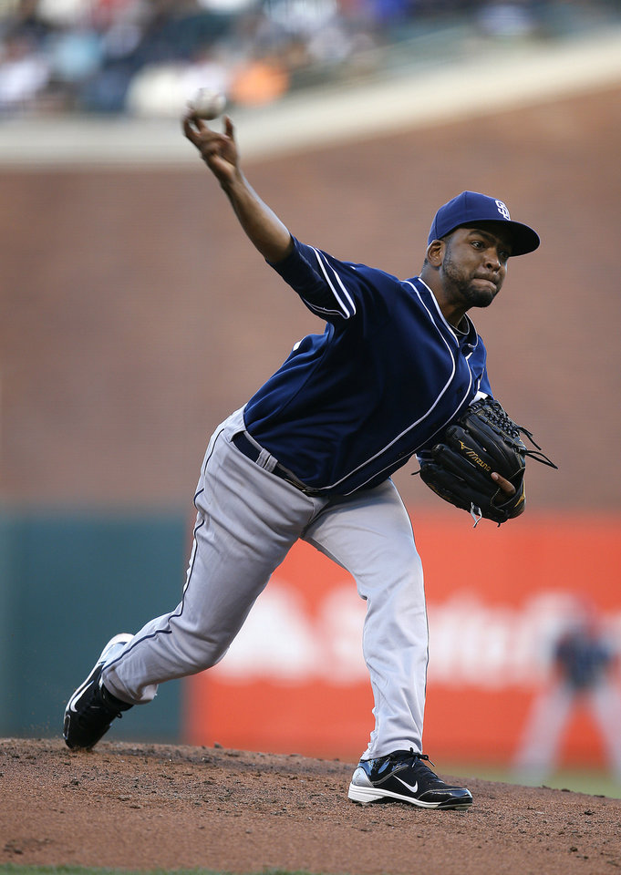 Photo - San Diego Padres pitcher Odrisamer Despaignethrows against the San Francisco Giants during the first inning of a baseball game in San Francisco, Monday, June 23, 2014. (AP Photo/Tony Avelar)
