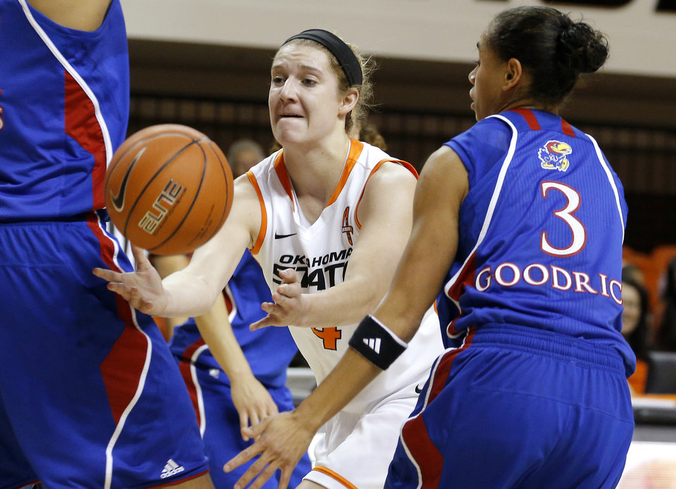 Photo - Oklahoma State's Liz Donohoe (4) passes the ball around Kansas' Angel Goodrich (3) during a women's college basketball game between Oklahoma State University (OSU) and Kansas at Gallagher-Iba Arena in Stillwater, Okla., Tuesday, Jan. 8, 2013. Photo by Bryan Terry, The Oklahoman