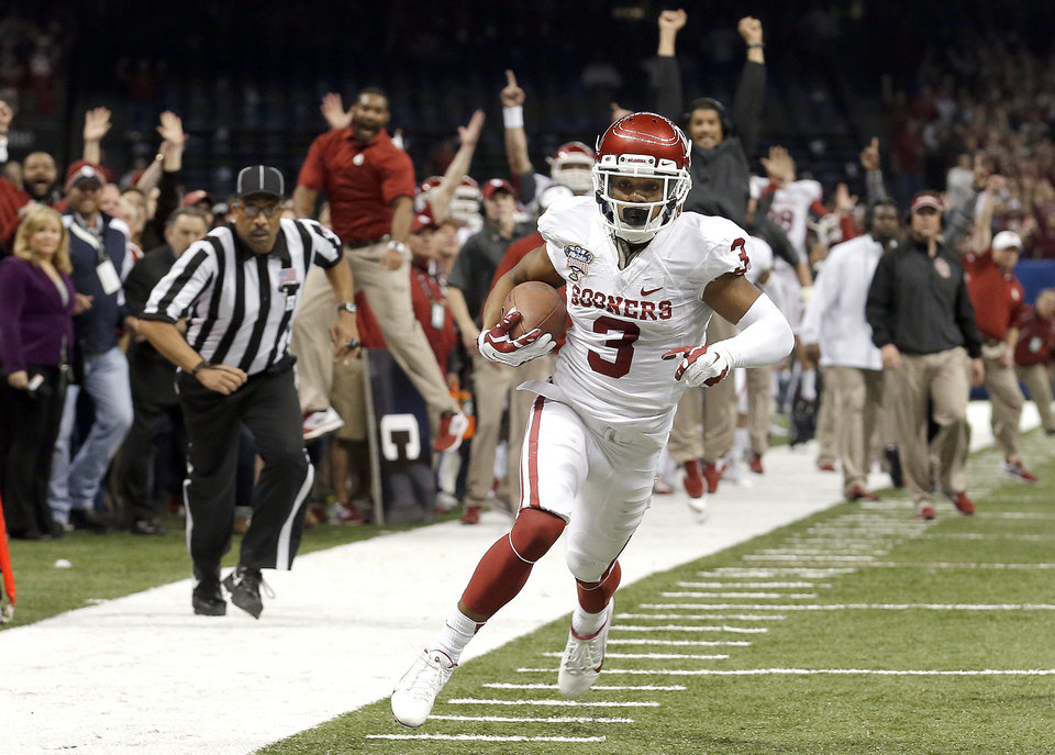 Oklahoma's Sterling Shepard (3) runs up field for a touchdown during the NCAA football BCS Sugar Bowl game between the University of Oklahoma Sooners (OU) and the University of Alabama Crimson Tide (UA) at the Superdome in New Orleans, La., Thursday, Jan. 2, 2014. Photo by Sarah Phipps, The Oklahoman
