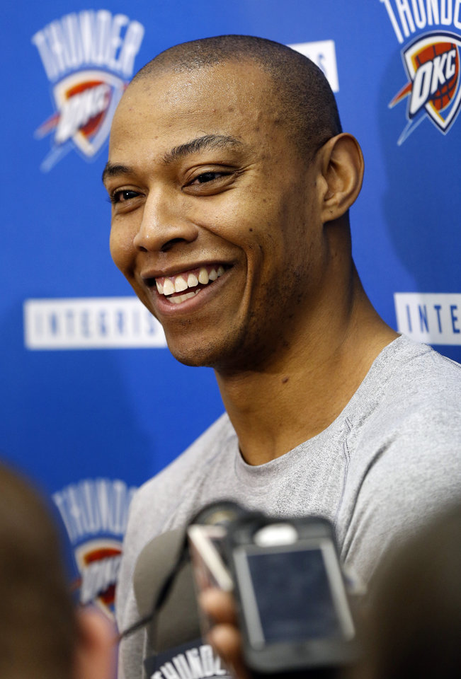 Photo - Caron Butler speaks during media access after Oklahoma City Thunder practice on Friday, May 2, 2014 in Oklahoma City, Okla..  Photo by Steve Sisney, The Oklahoman