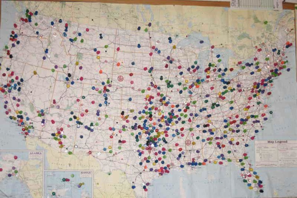 Katfish Kitchen\'s map pinpoints visitors from coast to coast and other continents of the world.