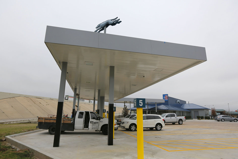 Photo - Bus canopies surround the new Greyhound bus station at 1948 E Reno, which is set to open Thursday.   Steve Gooch - The Oklahoman