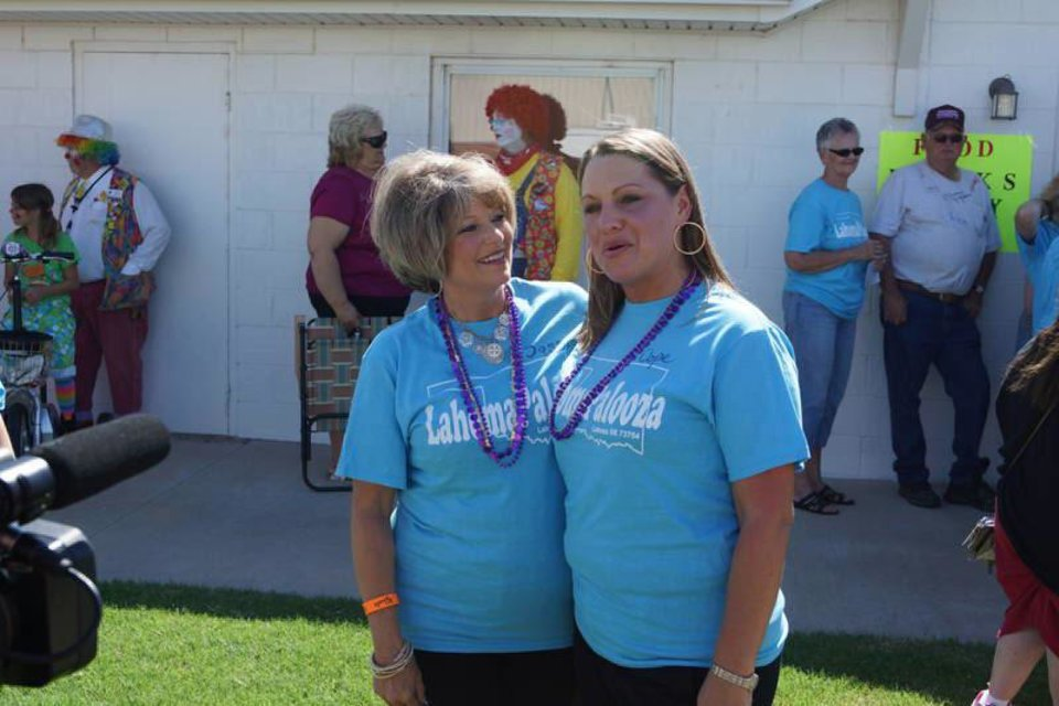 Lahoma Sasse and Lahoma Cope were among the women who attended the July 20 festival to celebrate the city of Lahoma and people who have the same name. PHOTO PROVIDED <strong></strong>