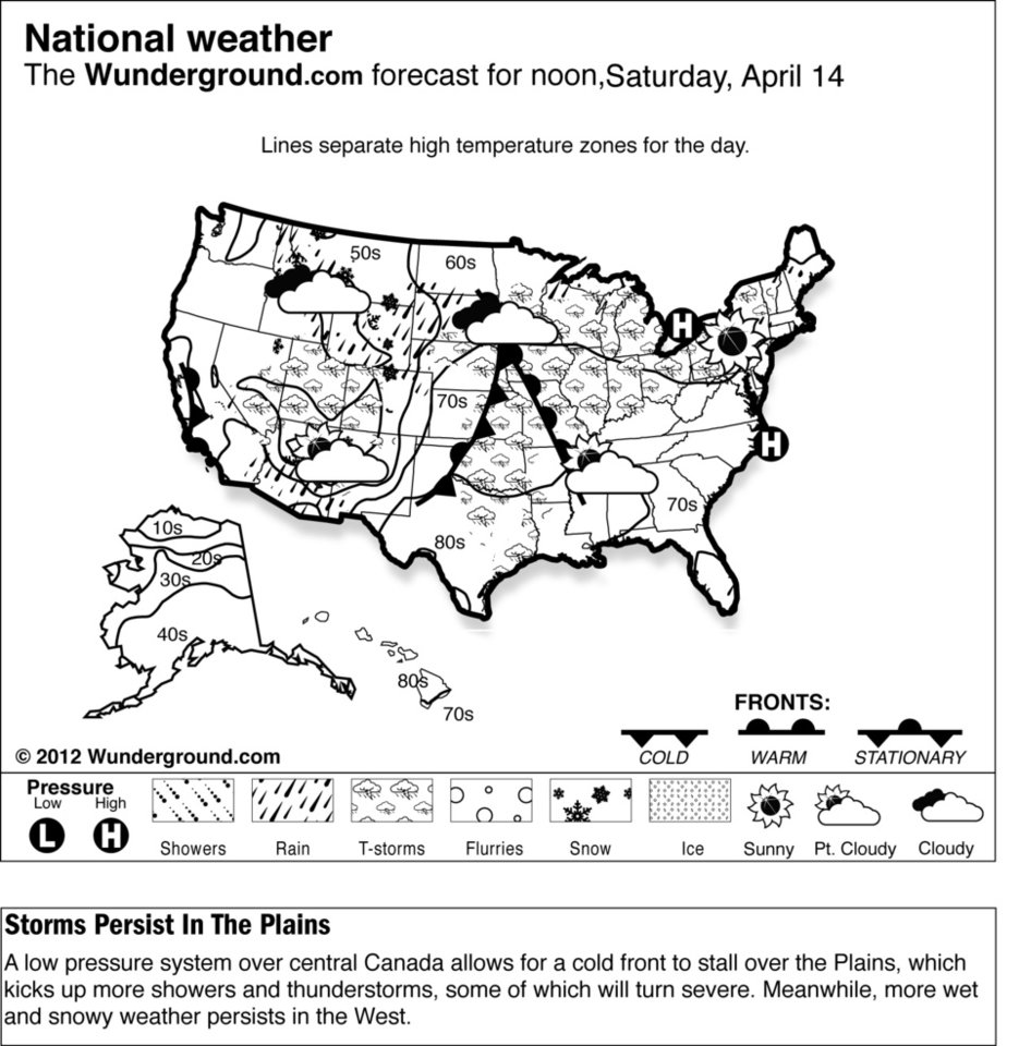 Photo -   A low pressure system over central Canada allows for a cold front to stall over the Plains, which kicks up more showers and thunderstorms, some of which will turn severe Saturday April 14, 2012. Meanwhile, more wet and snowy weather persists in the West. (AP Photo/Weather Underground)