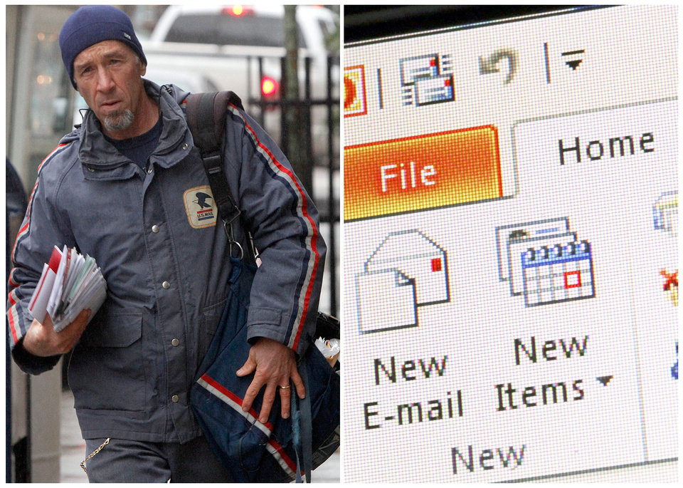 Photo - This combination of Associated Press file photos shows, left, mail carrier Mike Gillis delivering mail in 2011, in Montpelier, Vt., and right, Microsoft Outlook being demonstrated on a desktop computer in 2013, in New York. The number of