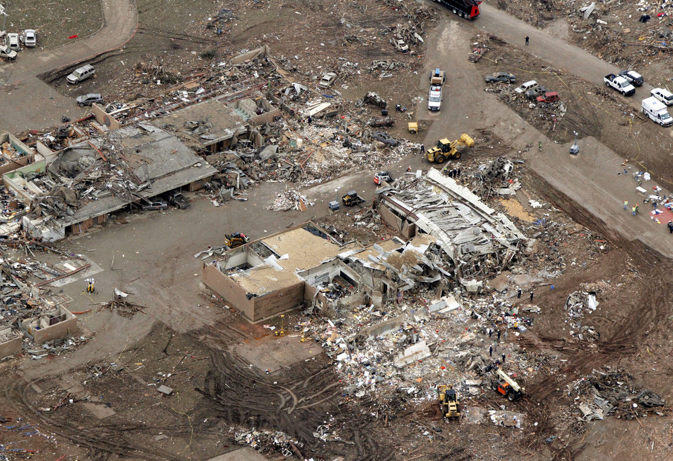 The Plaza Towers Elementary School was destroyed by the May 20th tornado in Moore, OK, Tuesday, May 21, 2013,  By Paul Hellstern, The Oklahoman