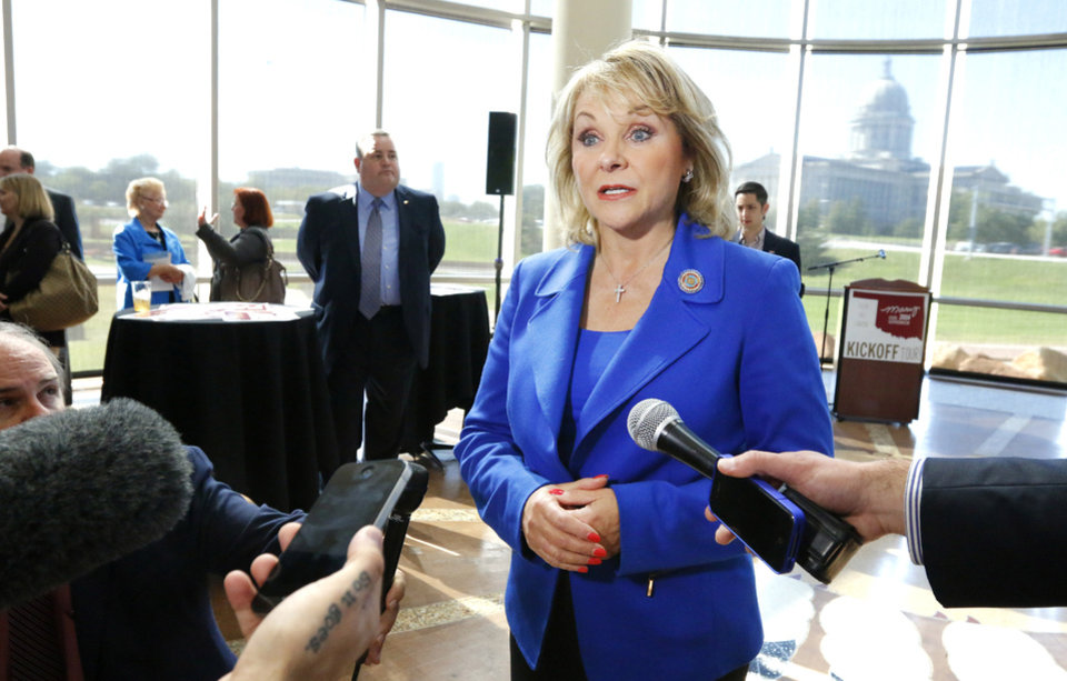 Gov. Mary Fallin speaks after a rally kicking off her re-election campaign Thursday at the Oklahoma History Center in Oklahoma City.  Photo by Paul B. Southerland, The Oklahoman