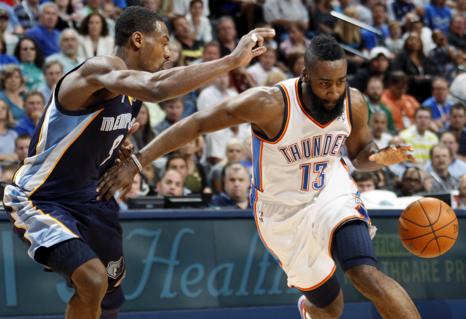 Oklahoma City\'s James Harden (13) drives the ball against Memphis\' Tony Allen (9) during the NBA basketball game between the Memphis Grizzlies and the Oklahoma City Thunder at Chesapeake Energy Arena in Oklahoma City, Monday, April 2, 2012. Memphis won 94-88. Photo by Nate Billings, The Oklahoman