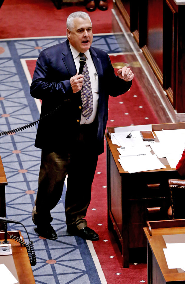 Photo - Senate President Pro Tempore Mike Schultz speaks as the senate considers legislation before adjourning from a special session on Friday, Nov. 17, 2017 in Oklahoma City, Okla.  Photo by Steve Sisney, The Oklahoman