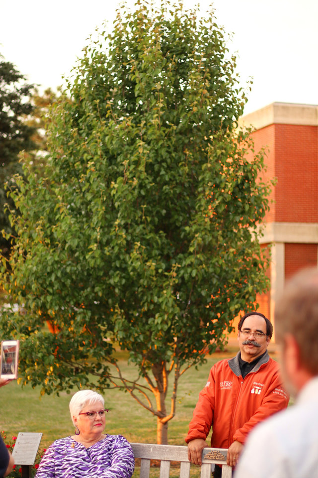 Photo - Ron Vega, from New York, tells how he brought a cutting of a Callery pear tree that was on World Trade Center Plaza and survived the Sept. 11, 2001, terrorist attacks to Oklahoma Christian University's campus. (Photo by Doug Hoke, The Oklahoman)